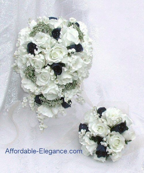 NAVY BLUE Cream White SILK Wedding Set ROSES Bouquets