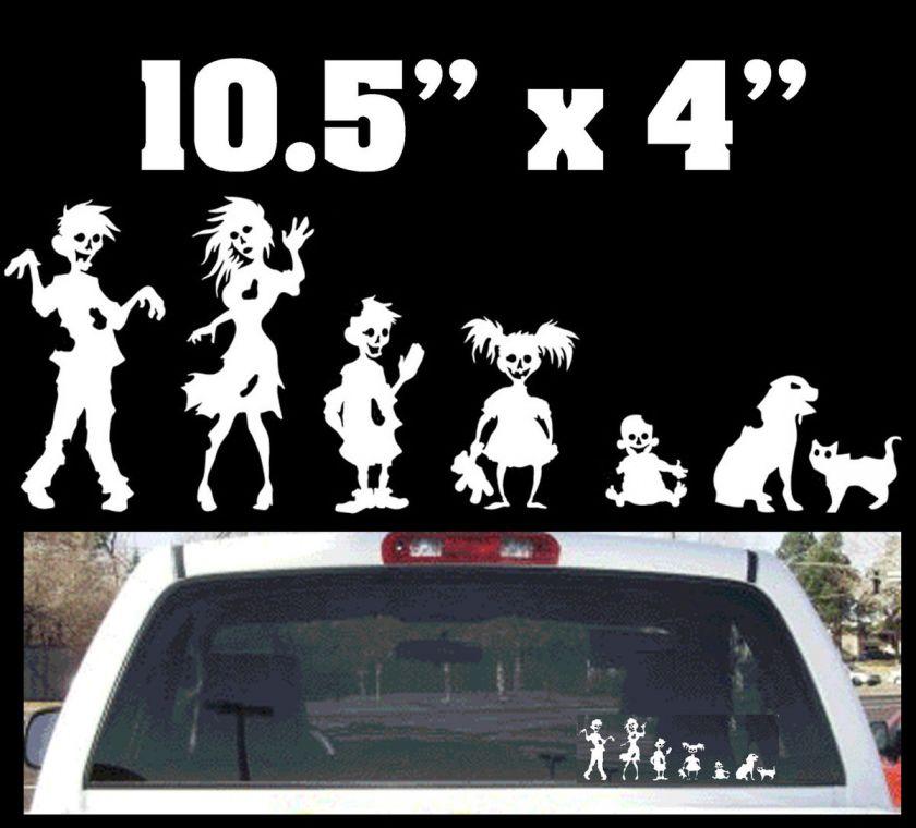 funny stick figure zombie family rear window decal