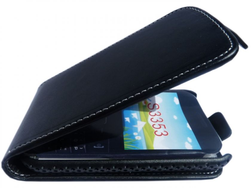 Samsung S3350 Ch@t Chat Black Leather Flip Case Cover