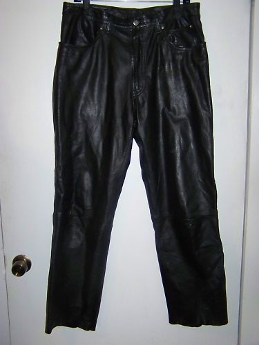 Harley Davidson black leather biker pants sz 34