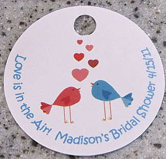 20 Love Birds Favor Gift Tags Valentines Day Party