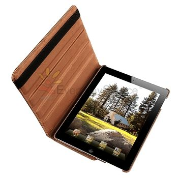 360° Rotating Leather Hard Cover Case Swivel Stand For iPad 2