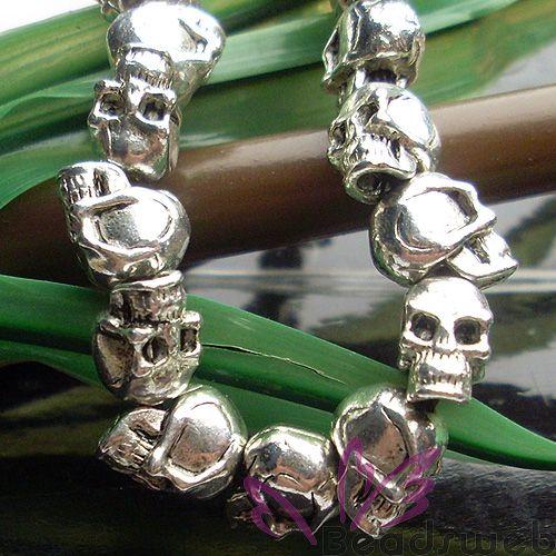 23pcs Skull Tibetan Silver Loose Beads Charms Bracelet