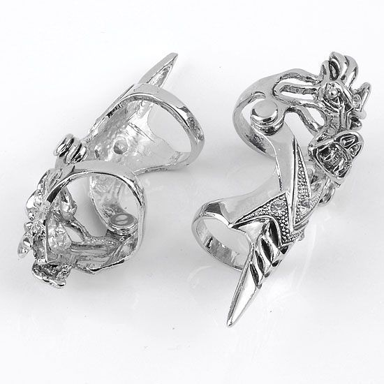 Crystal Spike Dragon Punk Double Finger Ring Mens Cool Gothic Gift