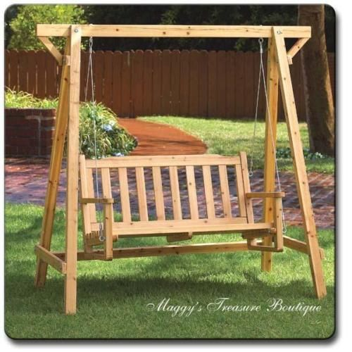 Super New Rustic Pine Wood Park Garden Bench Swing Ocoug Best Dining Table And Chair Ideas Images Ocougorg